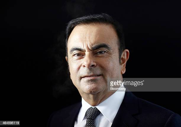 Carlos Ghosn president and chief executive officer of Nissan Motor Co Ltd poses for a photograph following a Bloomberg Television interview on day...