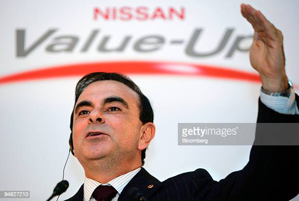 Carlos Ghosn president and chief executive officer of Nissan Motor Co speaks during a news conference announcing the company's fourthquarter profit...