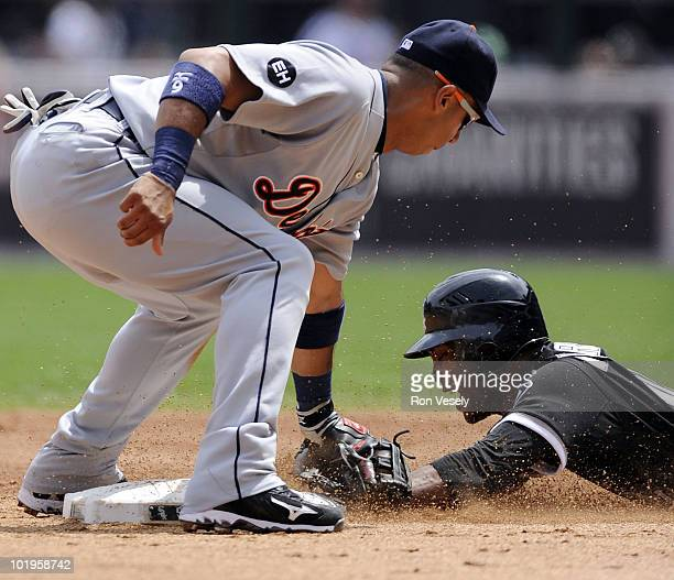 Carlos Gillen of the Detroit Tigers tags out Alexei Ramirez of the Chicago White Sox attempting to steal second base on June 10 2010 at US Cellular...