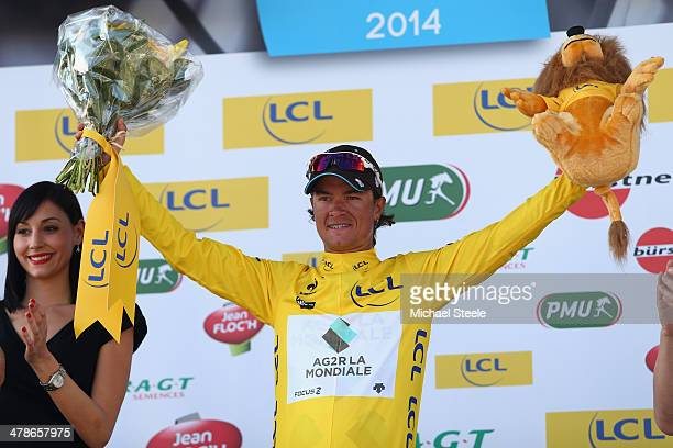 Carlos Gomez Betancur of Colombia and AG2R La Mondiale displays the race leaders yellow jersey after victory during stage 6 of the Paris-Nice race...