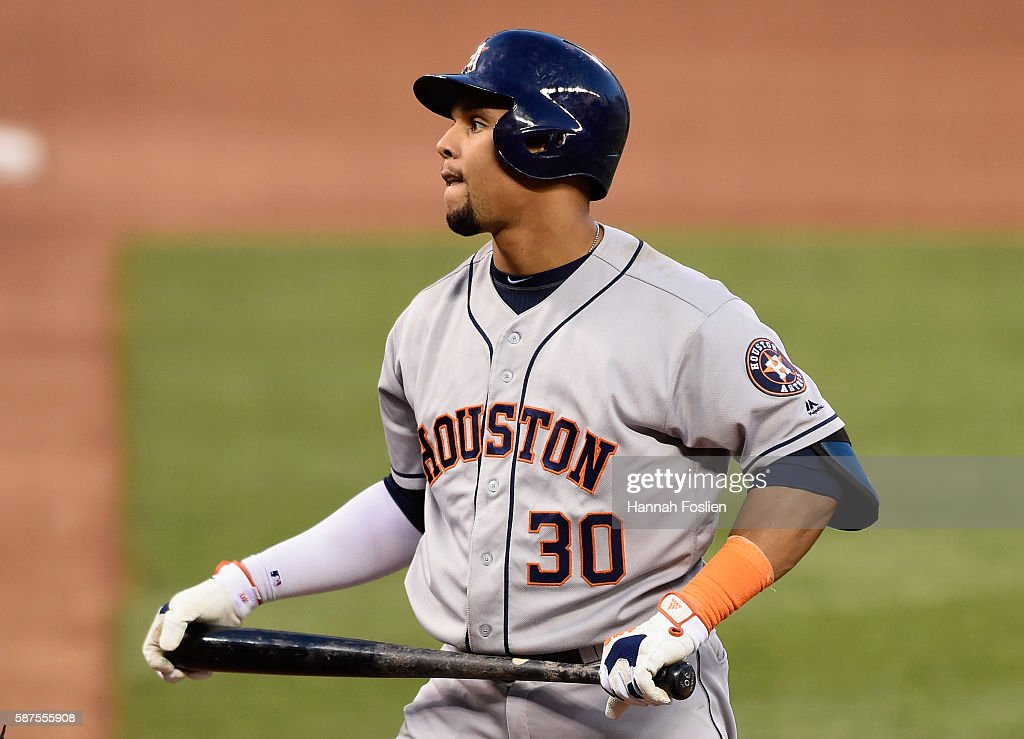 Carlos Gomez #30 of the Houston Astros reacts to striking out against the Minnesota Twins during the fifth inning of the game on August 8, 2016 at Target Field in Minneapolis, Minnesota. The Twins defeated the Astros 3-1.