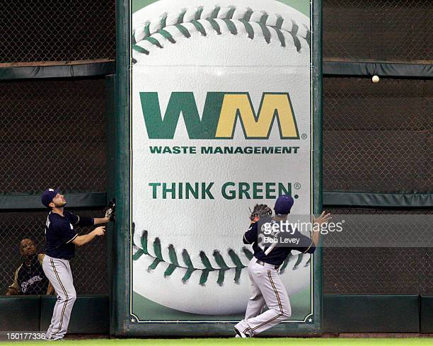 Carlos Gomez of the Milwaukee Brewers plays the ball off the wall on a deep fly ball by Steve Pearce of the Houston Astros at Minute Maid Park on...