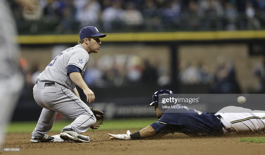 Carlos Gomez #27 of the Milwaukee Brewers steals second base beating the throw to Jedd Gyorko #9 of the San Diego Padres during the bottom of the third inning at Miller Park on April 22, 2014 in Milwaukee, Wisconsin.
