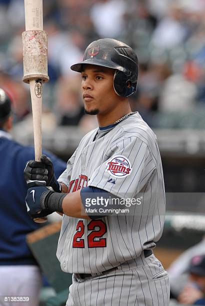 Carlos Gomez of the Minnesota Twins looks on during the game against the Detroit Tigers at Comerica Park in Detroit Michigan on May 23 2008 The Twins...