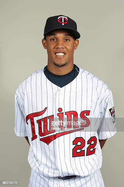 Carlos Gomez of the Minnesota Twins poses for a portrait during photo day at Hammond Stadium on February 25 2008 in Ft Myers Florida