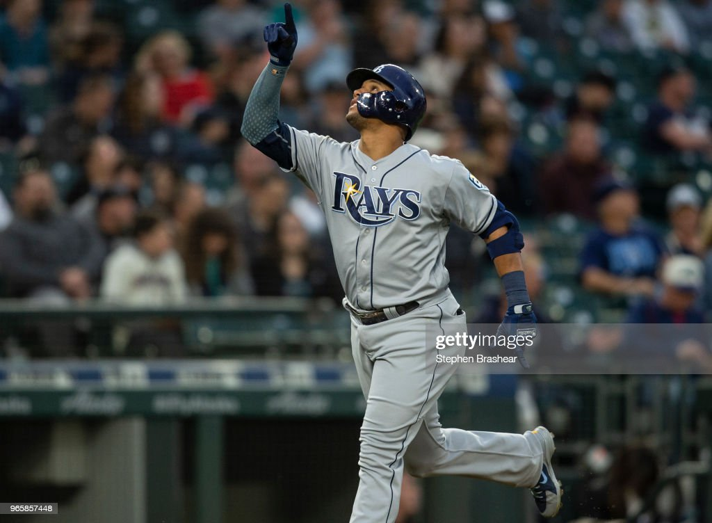 Carlos Gomez #27 of the Tampa Bay Rays celebrates as he rounds the bases after hitting a solo home run off of starting pitcher Mike Leake #8 of the Seattle Mariners during the fifth inning of a game at Safeco Field on June 1, 2018 in Seattle, Washington.