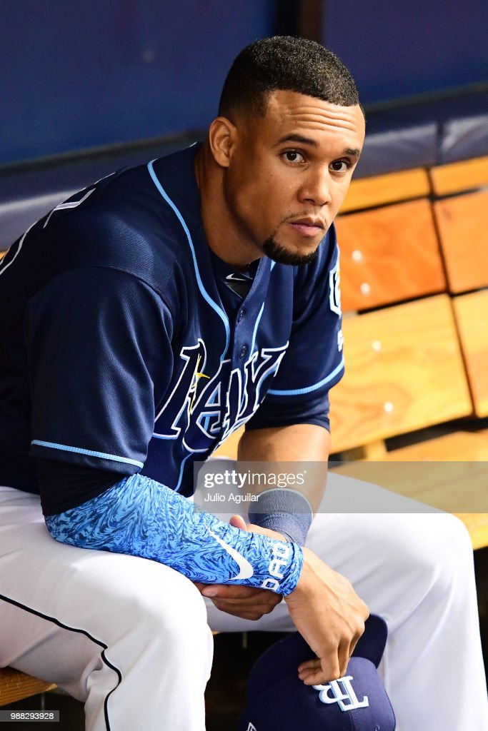 Carlos Gomez #27 of the Tampa Bay Rays looks on before a game against the Houston Astros on June 30, 2018 at Tropicana Field in St Petersburg, Florida.