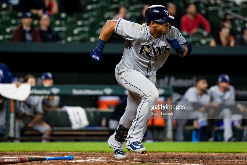 Carlos Gomez #27 of the Tampa Bay Rays runs on his double during the ninth inning against the Baltimore Orioles at Oriole Park at Camden Yards on April 26, 2018 in Baltimore, Maryland.