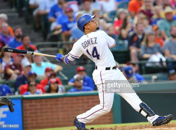 Carlos Gomez of the Texas Rangers hits in the third inning against the Baltimore Orioles at Globe Life Park in Arlington on July 28 2017 in Arlington...