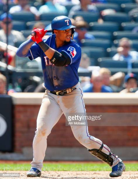 Carlos Gomez of the Texas Rangers in action against the New York Mets at Citi Field on August 9 2017 in the Flushing neighborhood of the Queens...