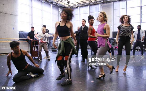 Carlos Gonzalez and Vanessa Hudgens with cast during the Broadway Center Stage Rehearsal for 'In the Heights' on March 13 2018 at Baryshnikov Arts...