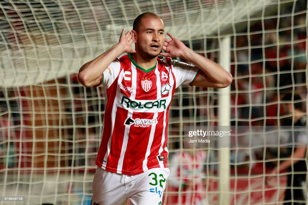 Carlos Gonzalez of Necaxa celebrates after scoring the first goal of his team during the 8th round match between Necaxa and Monterrey as part of the Torneo Clausura 2018 Liga MX at Victoria Stadium on February 17, 2018 in Aguascalientes, Mexico.