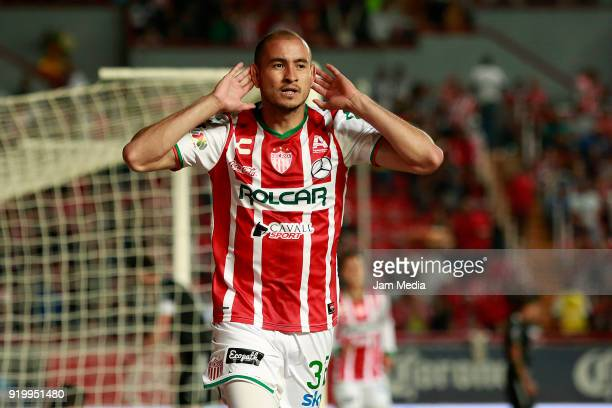Carlos Gonzalez of Necaxa celebrates after scoring the first goal of his team during the 8th round match between Necaxa and Monterrey as part of the...