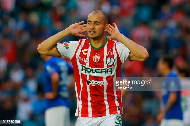 Carlos Gonzalez of Necaxa celebrates after scoring the second goal of his team during the 6th round match between Cruz Azul and Necaxa as part of the...