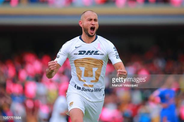 Carlos Gonzalez of Pumas celebrates a scored goal during the 13th round match between Pumas UNAM and Tigres UANL as part of the Torneo Apertura 2018...