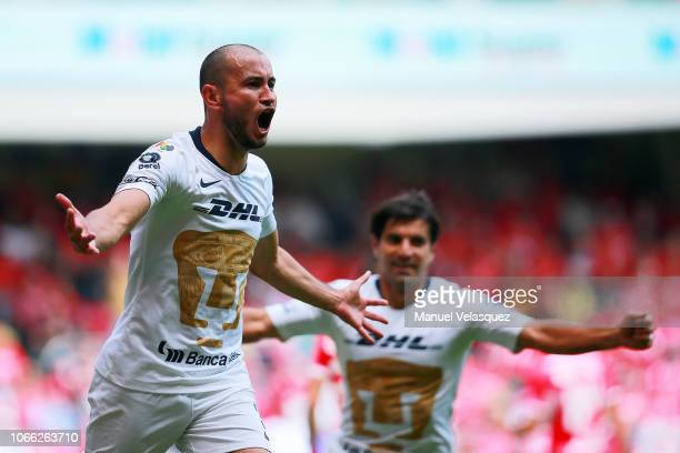 Carlos Gonzalez of Pumas celebrates after scoring the first goal of his team during a 16th round match between Toluca and Pumas as part of Torneo...