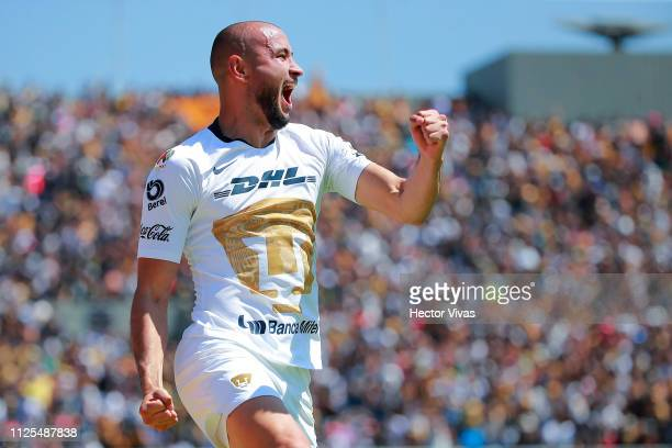Carlos Gonzalez of Pumas celebrates after scoring the first goal of his team during the seventh round match between Pumas UNAM and America as part of...