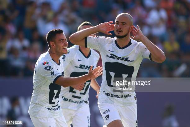 Carlos Gonzalez of Pumas celebrates after scoring the first goal of his team during the 1st round match between San Luis and Pumas UNAM as part of...
