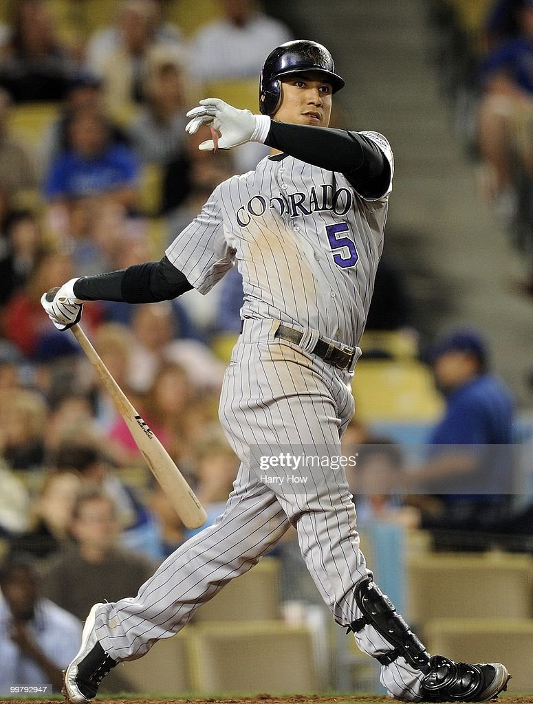 Carlos Gonzalez #5 of the Colorado Rockies at bat against the Los Angeles Dodgers at Dodger Stadium on May 7, 2010 in Los Angeles, California.