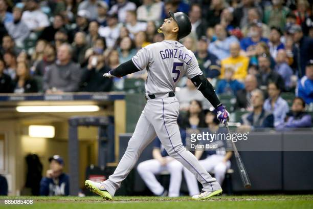 Carlos Gonzalez of the Colorado Rockies flies out in the fourth inning against the Milwaukee Brewers at Miller Park on April 4 2017 in Milwaukee...