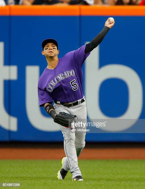 Carlos Gonzalez of the Colorado Rockies in action against the New York Mets at Citi Field on July 15 2017 in the Flushing neighborhood of the Queens...