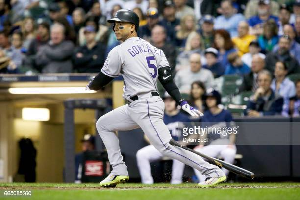 Carlos Gonzalez of the Colorado Rockies lines out in the third inning against the Milwaukee Brewers at Miller Park on April 4 2017 in Milwaukee...