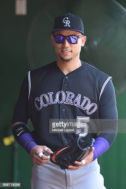 Carlos Gonzalez of the Colorado Rockies looks on before a baseball game against the Washington Nationals at Nationals Park on August 27 2016 in...