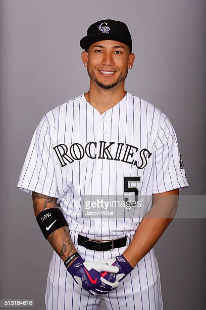 Carlos Gonzalez of the Colorado Rockies poses during Photo Day on Monday February 29 2016 at Salt River Fields at Talking Stick in Scottsdale Arizona