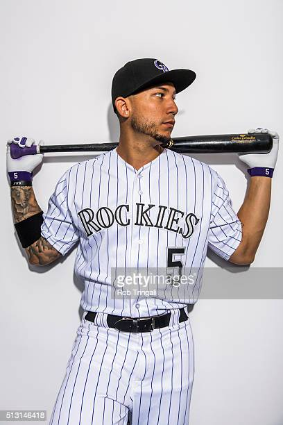 Carlos Gonzalez of the Colorado Rockies poses for a portrait at the Salt River Fields at Talking Stick on February 29 2016 in Sottsdale Arizona