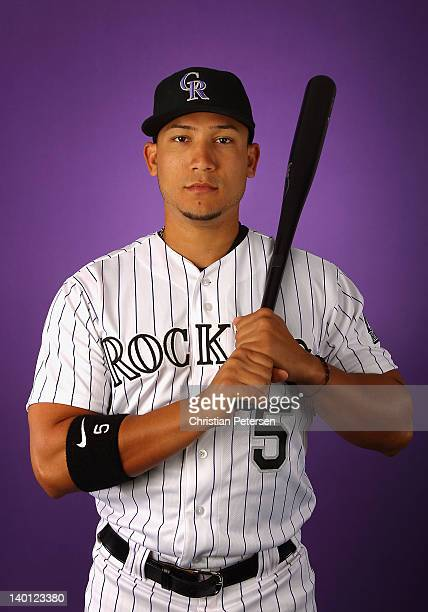 Carlos Gonzalez of the Colorado Rockies poses for a portrait during spring training photo day at Salt River Fields at Talking Stick on February 28...