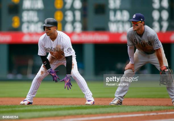 Carlos Gonzalez of the Colorado Rockies takes a lead from first base as Wil Myers of the San Diego Padres covers the bag during a regular season MLB...
