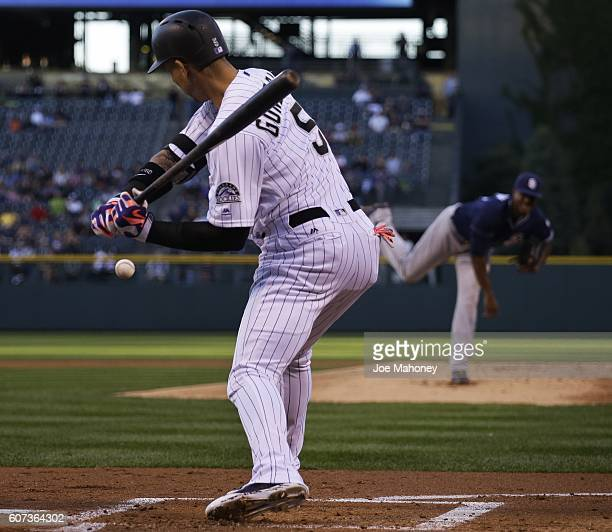 Carlos Gonzalez of the Colorado Rockies waits for a pitch from Edwin Jackson of the San Diego Padres in the first inning of a baseball game at Coors...