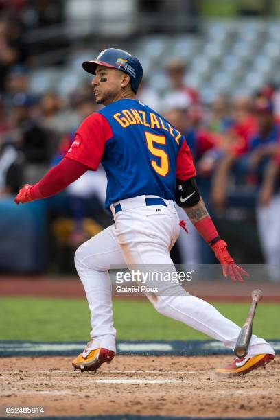 Carlos Gonzalez of Venezuela bats during Game 3 of Pool D of the 2017 World Baseball Classic against Team Italy on Saturday March 11 2017 at Estadio...