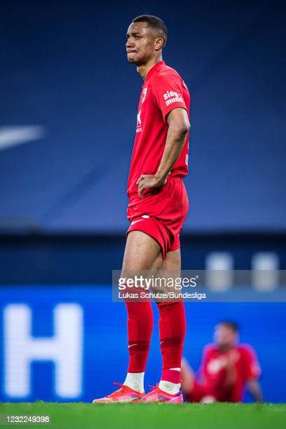 Carlos Gruezo of Augsburg looks disappointed after loosing the Bundesliga match between FC Schalke 04 and FC Augsburg at Veltins-Arena on April 11,...