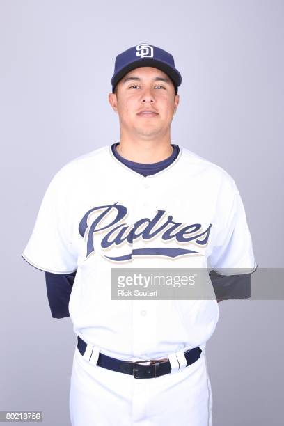 Carlos Guevara of the San Diego Padres poses for a portrait during photo day at Peoria Stadium on February 22 2008 in Peoria Arizona