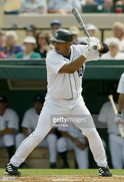 Carlos Guillen of the Detroit Tigers bats during the game against the Toronto Blue Jays at Joker Marchant Stadium on March 9 2004 in Lakeland Florida...