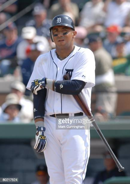 Carlos Guillen of the Detroit Tigers looks on during the spring training game against the Philadelphia Phillies at Joker Marchant Stadium in Lakeland...
