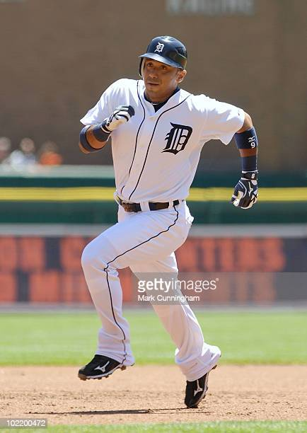 Carlos Guillen of the Detroit Tigers runs the bases against the Washington Nationals during the game at Comerica Park on June 17 2010 in Detroit...