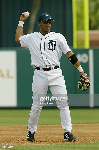Carlos Guillen of the Detroit Tigers warms up during the game against the Toronto Blue Jays at Joker Marchant Stadium on March 9 2004 in Lakeland...