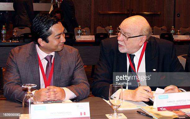 Carlos Henrique Cardim and Akio Tamashiro talk during the presentation of the XV Gimnasiada 2013 as part of XIX Sports Minister of America and...