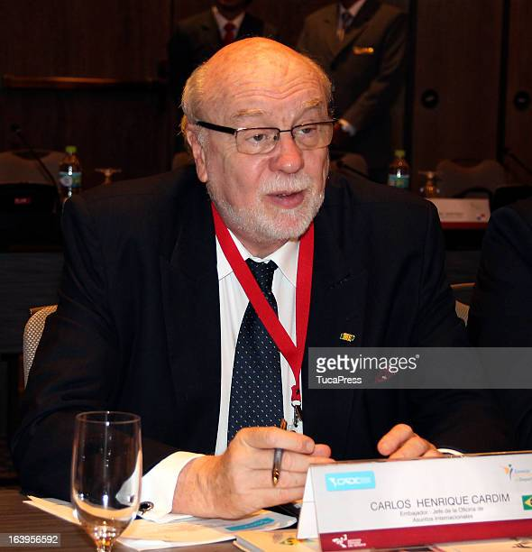 Carlos Henrique Cardim looks on during the presentation of the XV Gimnasiada 2013 as part of XIX Sports Minister of America and Iberoamerica Meeting...