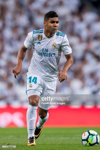 Carlos Henrique Casemiro of Real Madrid in action during the La Liga 201718 match between Real Madrid and SD Eibar at Estadio Santiago Bernabeu on 22...