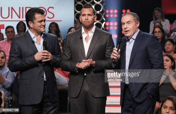 Carlos Hermosillo Alex Rodriguez and Andres Cantor onstage during TODOS UNIDOS Telemundo's Primetime Special from Cisneros Studio on September 24...
