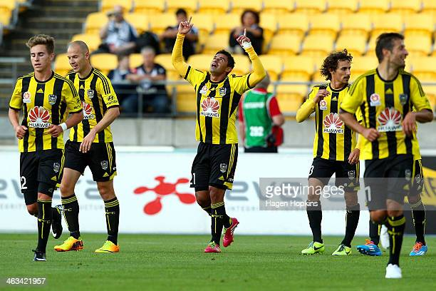 Carlos Hernandez of the Phoenix celebrates his goal during the round 15 ALeague match between Wellington Phoenix and the Melbourne Victory at Westpac...