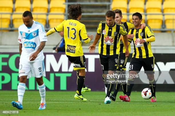 Carlos Hernandez of the Phoenix is congratulated on his second goal during the round 15 ALeague match between Wellington Phoenix and the Melbourne...