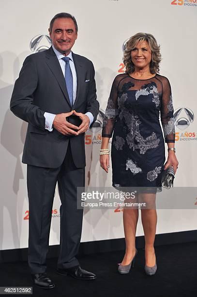 Carlos Herrera and Julia Otero attend 'Antena 3' 25th Anniversary Reception at the Palacio de Cibeles on January 29 2015 in Madrid Spain