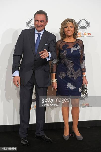 Carlos Herrera and Julia Otero attend Antena 3 TV Channel 25th anniversary party at the Palacio de Cibeles on January 29 2015 in Madrid Spain