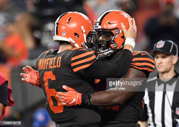 Carlos Hyde celebrates his touchdown with Baker Mayfield of the Cleveland Browns during the fourth quarter against the New York Jets at FirstEnergy...