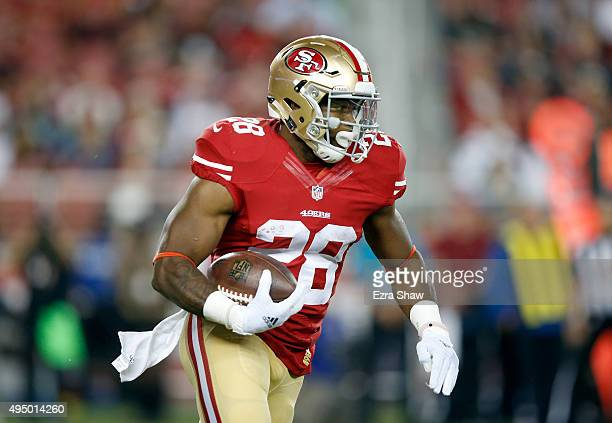 Carlos Hyde in action against the Seattle Seahawks at Levi's Stadium on October 22 2015 in Santa Clara California