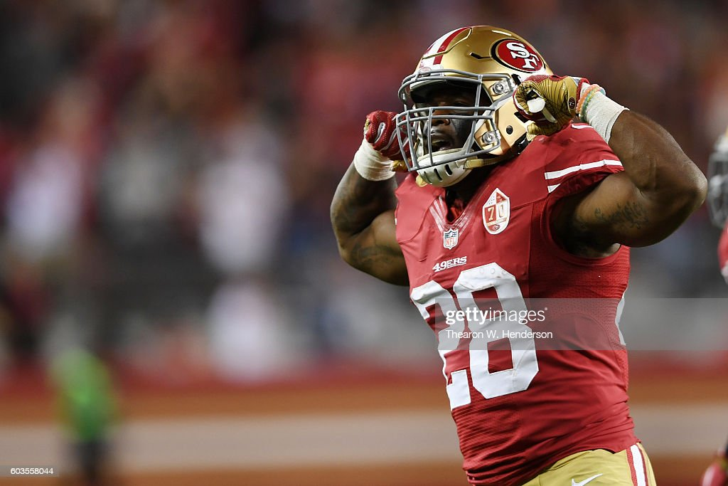 Carlos Hyde #28 of the San Francisco 49ers celebrates after a touchdown against the Los Angeles Rams during their NFL game at Levi's Stadium on September 12, 2016 in Santa Clara, California.